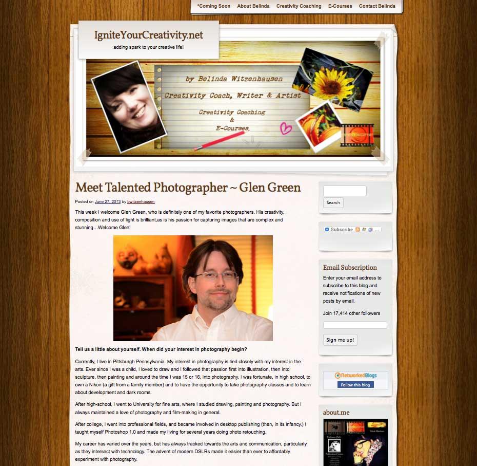 Artist Glen Green's Ignite Your Creativity Fine Arts Photography Interview with Belinda (McGrath) Witzenhausen